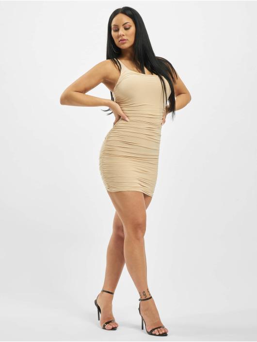 Missguided Dress One Shoulder Slinky Ruched Mini beige
