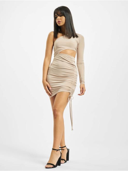 Missguided Dress Slinky One Shoulder Cut Out Mini beige