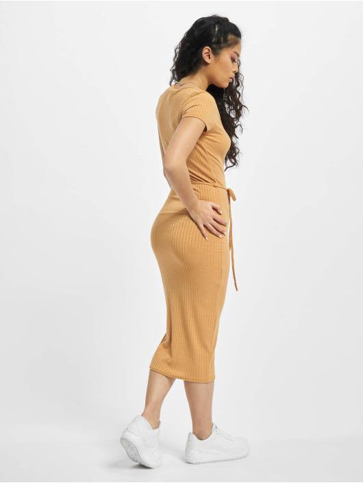Missguided Dress Petite SS Tie Belt Rib Midi beige