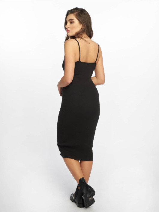 Missguided Dress Strappy Ribbed Popper black