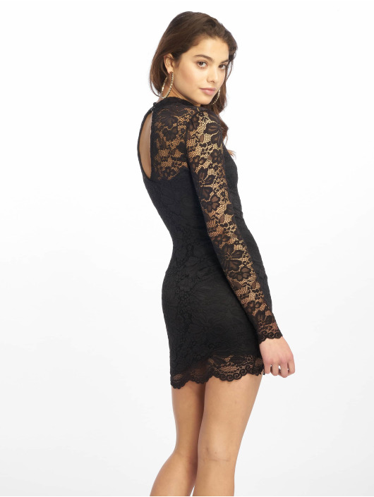 Missguided Dress High Neck Long Sleeve Lace Midi black