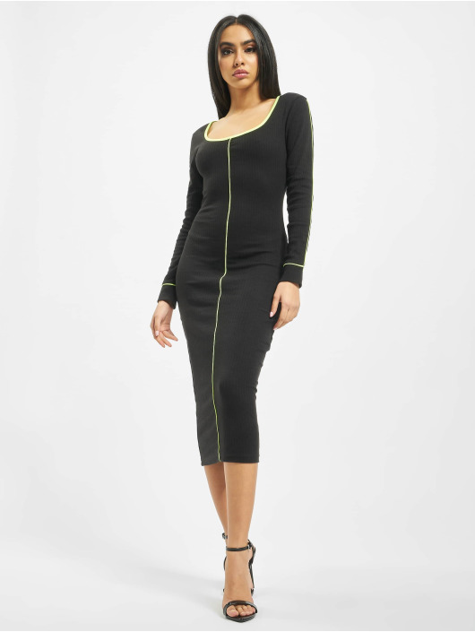Missguided Dress Ribbed Scoop Neck Longsleeve Piped Midi black