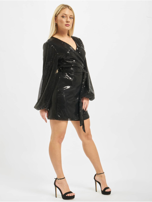 Missguided Dress Wrap Balloon Sleeve Sequin black