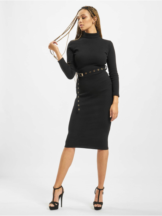 Missguided Dress Petite Roll Neck Belted black