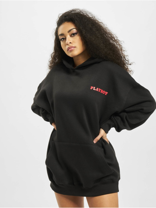 Missguided Dress Playboy Diamante Lips Hoodie black