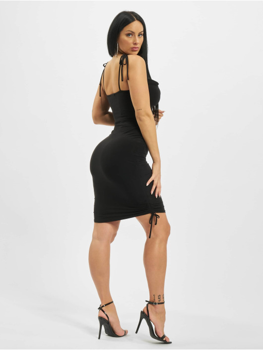 Missguided Dress Slinky Cowl Ruched Tie black