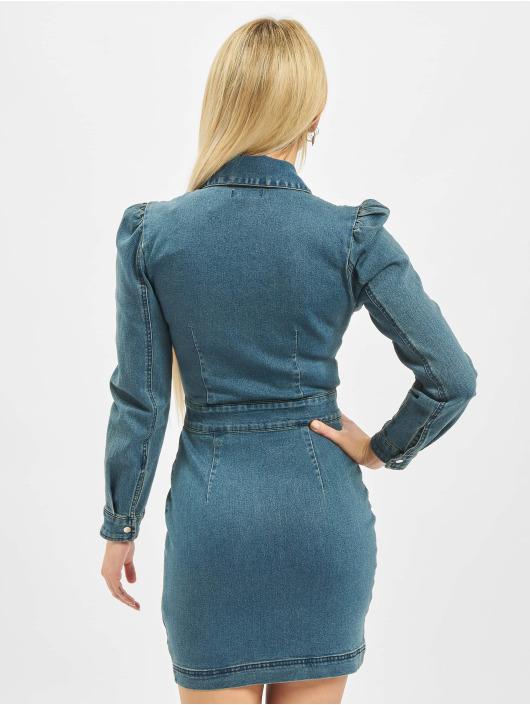 Missguided Dress Puff Sleeve Zip Through Denim blue