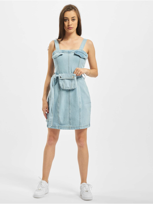 Missguided Dress Zip Up With Belt Bag blue