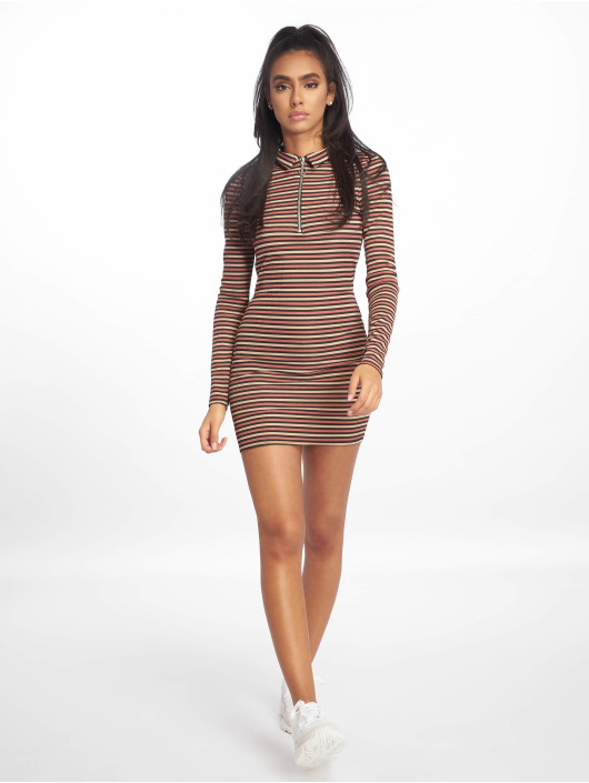 Missguided Dress Collar Bodycon Zip Front brown