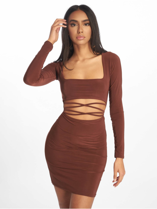 Missguided Dress Cut Out Slinky Long Sleeve Mini brown