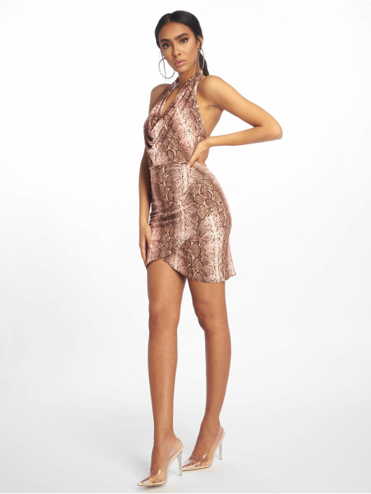 Missguided Dress Halterneck Cowl Wrap Hem Mini brown