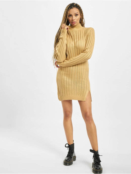 Missguided Dress Extreme Rib High Neck With Split brown