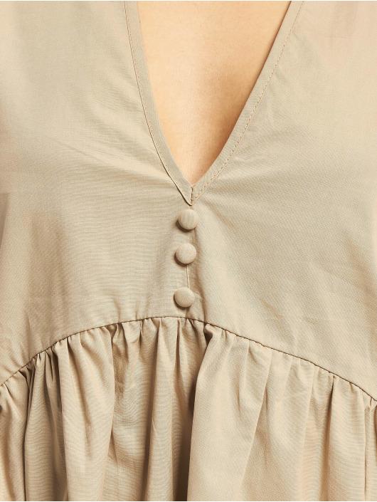 Missguided Dress Poplin V Neck Button Front Smock brown