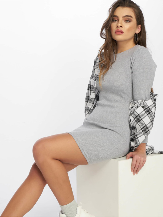 Missguided Dress Ribbed Long Sleeve Bodycon gray