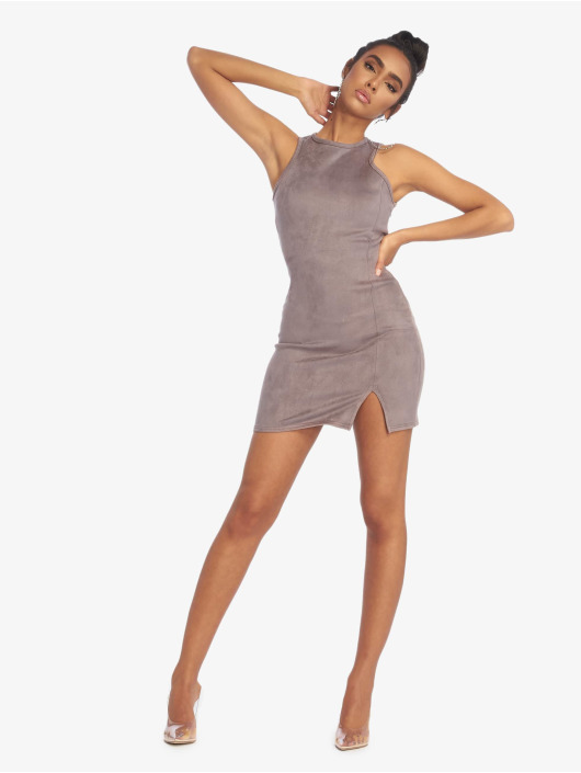 Missguided Dress Bonded Suede Split Side Mini gray