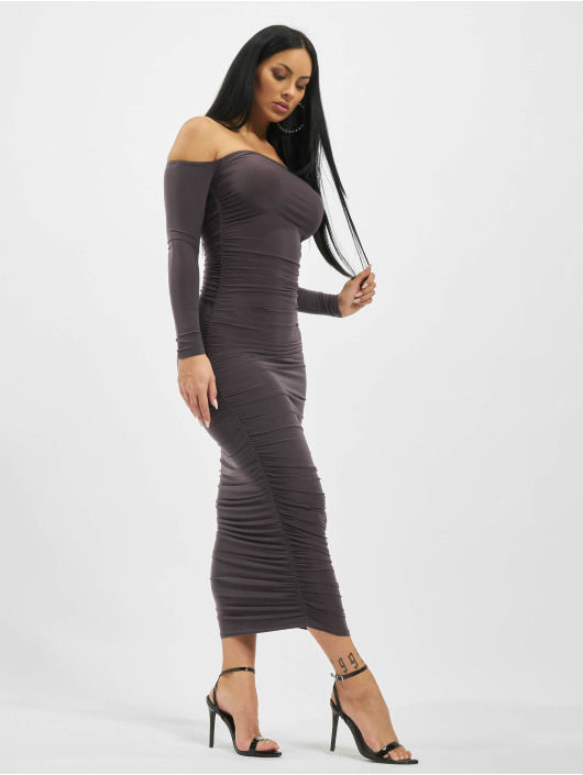 Missguided Dress Bardot Slinky Ruched Midaxi gray