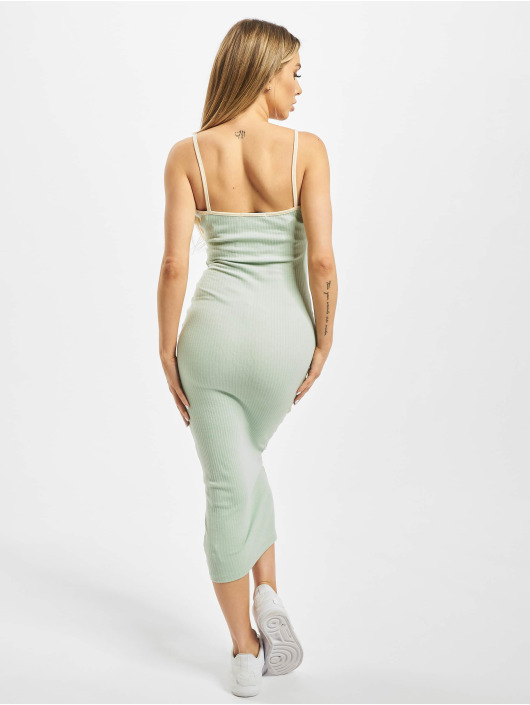 Missguided Dress Contrast Piping Ribbed green
