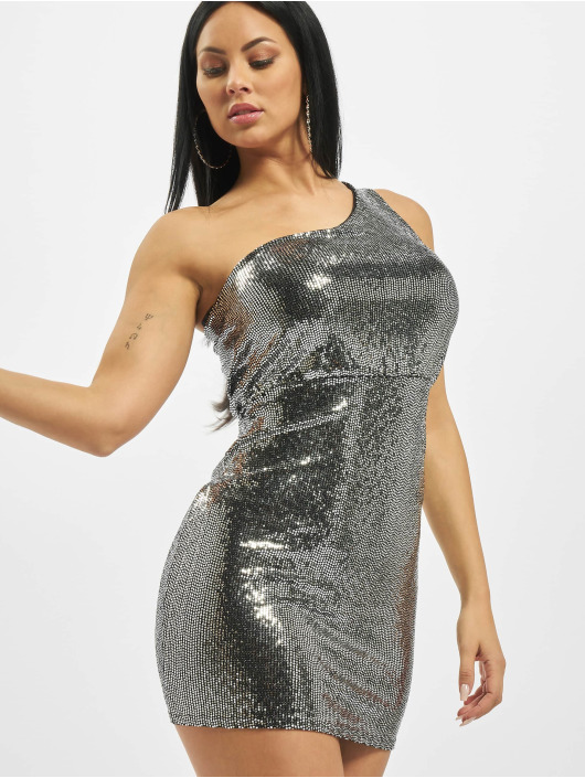 Missguided Dress Sequin Puff One Shoulder silver