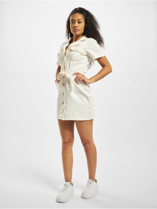 Missguided Dress Contrast Stitch Self Belt white