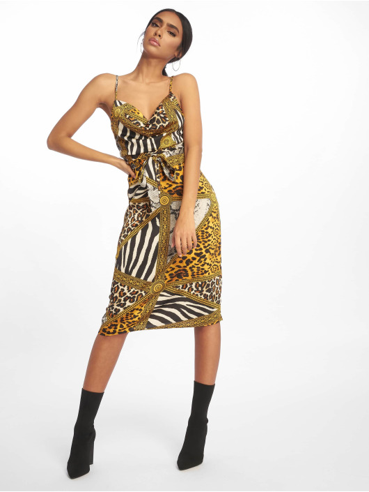 Missguided Dress Cowl Neck Animal Print Satin Midi yellow