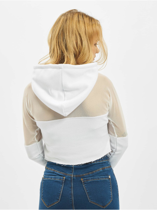 Missguided Hoodie Active Mesh Panel white