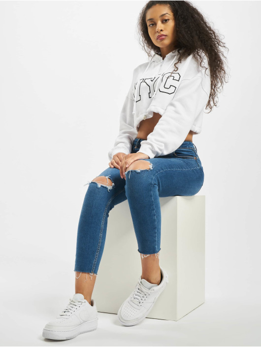 Missguided Hoodie Co-Ord NYC Drawstring Cropped white