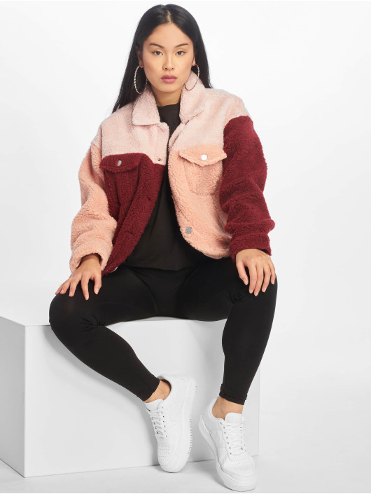 Missguided Lightweight Jacket Colourblock Oversized Borg pink