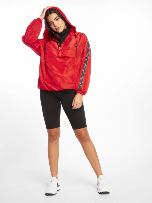 Missguided Lightweight Jacket Hooded Half Zip red