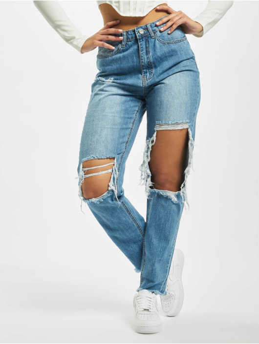 Missguided Mom Jeans Riot High Rise Open Knee High Waist blue