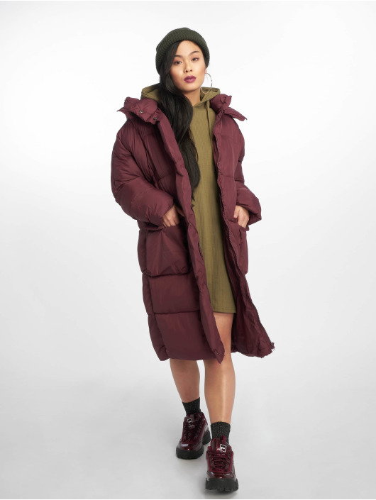 Missguided Puffer Jacket Longline red