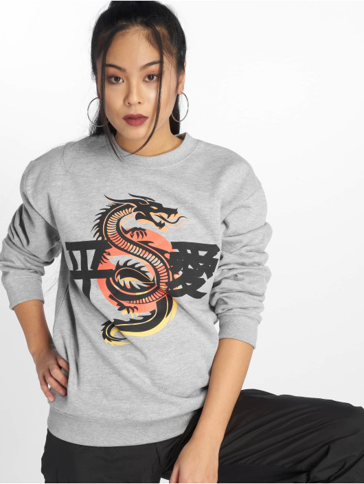 Missguided Pullover Dragon Graphic gray