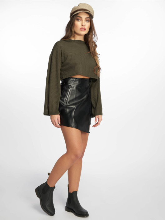 Missguided Pullover Ribbed Flare olive