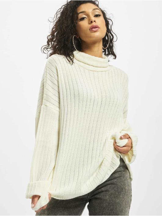Missguided Pullover Premium Roll Neck Step Hem white