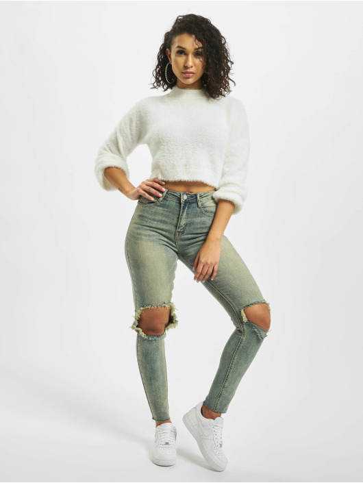 Missguided Pullover High Neck Fluffy Balloon Sleeve white