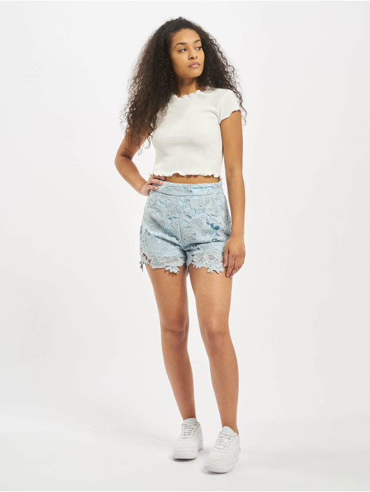 Missguided Short Co-Ord Crochet Lace blue