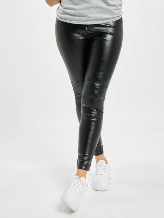 Missguided Skinny Jeans Faux Leather Biker Detail black