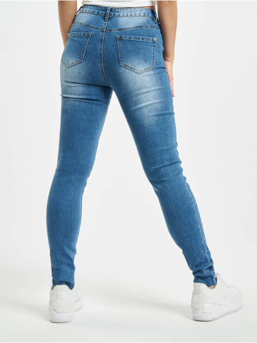 Missguided Skinny Jeans Petite Sinner Clean Distress blue