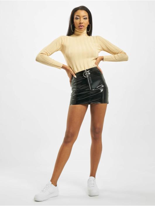 Missguided Skirt Petite Ring Pull Vinyl black