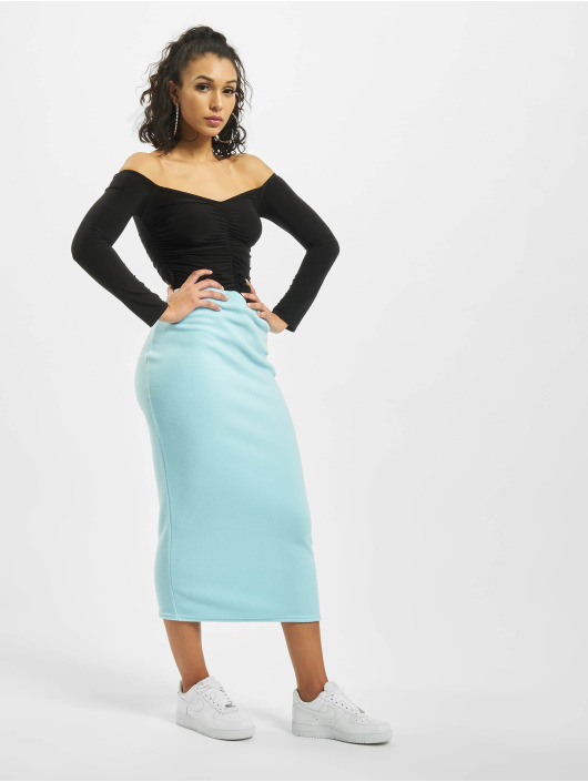 Missguided Skirt Fleece Tie Waist Midi Co-Ord blue