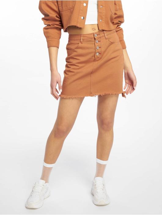 Missguided Skirt Exposed Button Step Hem Denim Mini brown