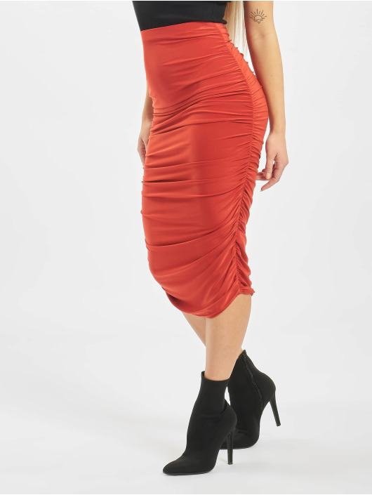 Missguided Skirt Petite Slinky Rouched Midi red
