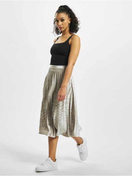 Missguided Skirt Tall Velvet Pleated Midi silver