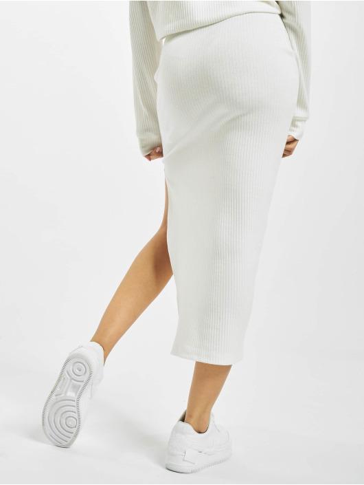 Missguided Skirt Ribbed Midi white