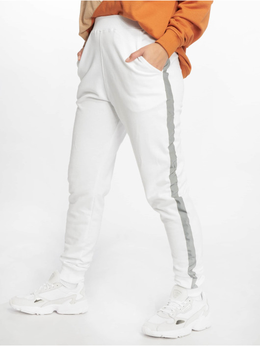 Missguided Sweat Pant Reflective Detail Stripe white