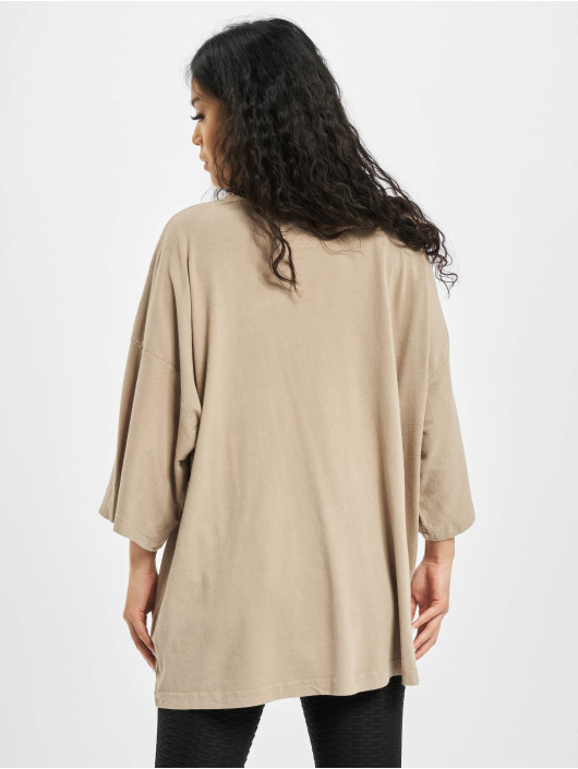 Missguided T-Shirt Washed Missguided Dropped Shoulder beige