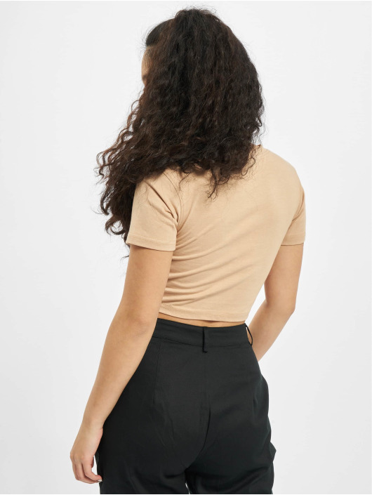 Missguided T-Shirt Petite Slogan Emb Cap Sleeve Crop beige