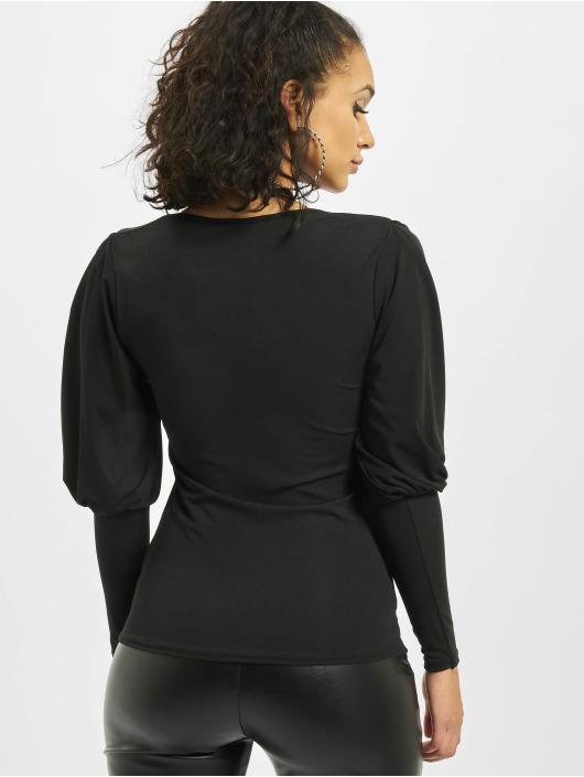 Missguided Top Rib Puff Sleeve Square Neck Milkmaid black