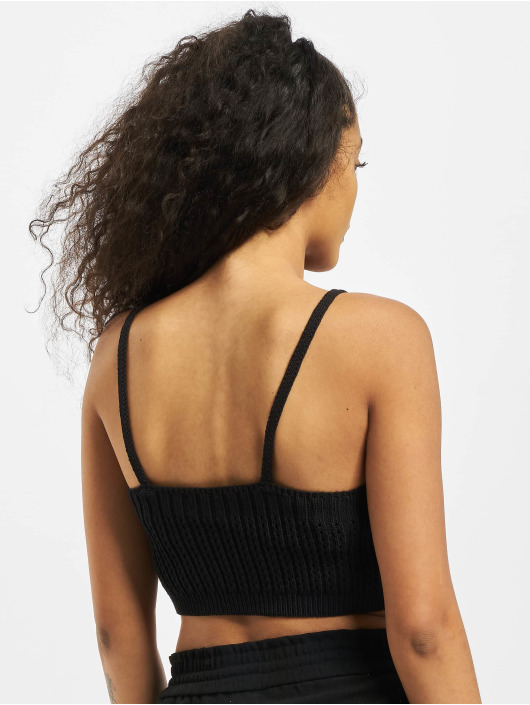 Missguided Top Knitted V Neck black