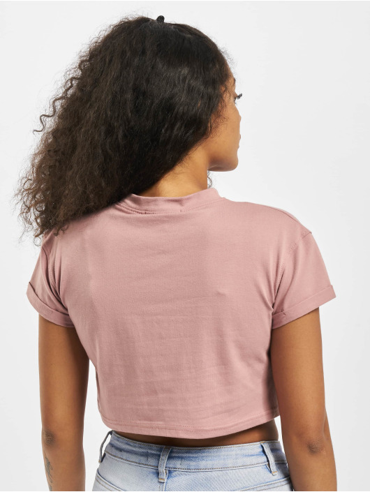 Missguided Top Petite Exclusive Roll Sleeve Crop rose