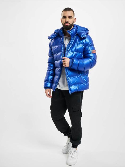 Mister Tee Puffer Jacket Nasa Insignia Metallic blue